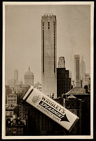 [Photograph of the construction of Wrigley building with a pack of Wrigly's gum]