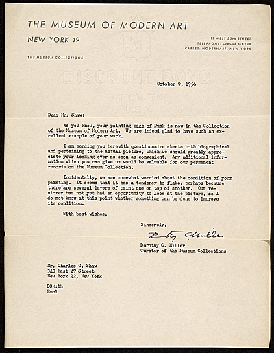 Dorothy Canning Miller, New York, N.Y. letter to Charles Green Shaw, New York, N.Y.