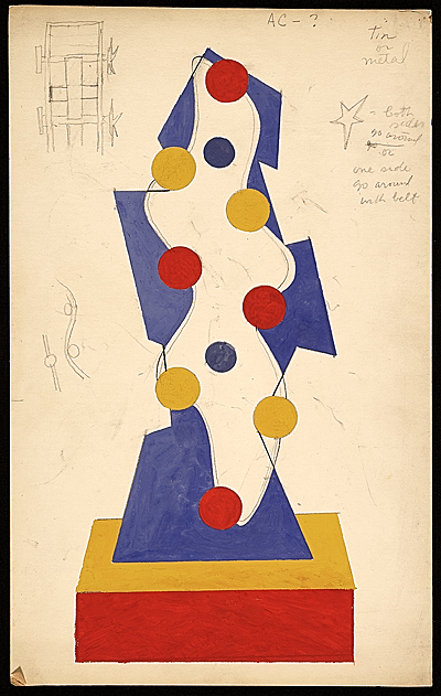 [Charles Green Shaw gouache sketch for World's Fair motorized piece]