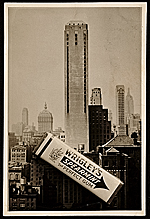 Photograph of the construction of Wrigley building with a pack of Wriglys gum