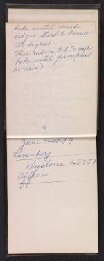 [Charles Sheeler notebook with addresses and recipes pages 3]