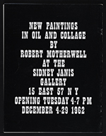 [Sidney Janis Gallery exhibition catalog for New Paintings and Collages by Robert Motherwell cover back 14]