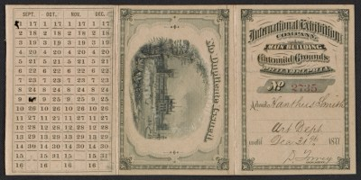 Xanthus Smiths admission card to the Centennial Exhibition