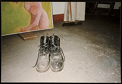 [Hassel Smith's shoes on studio floor]