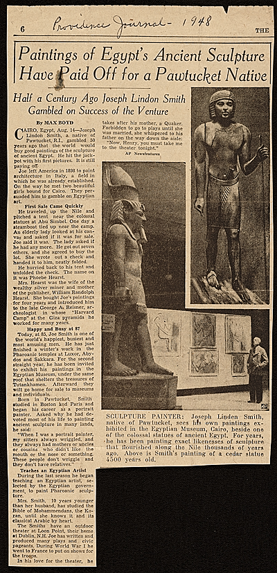 Newspaper article about Joseph Lindon Smith painting ancient Egyptian sculpture