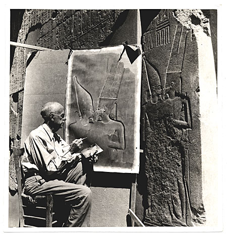 [Joseph Lindon Smith reproducing an Egyptian bas relief]