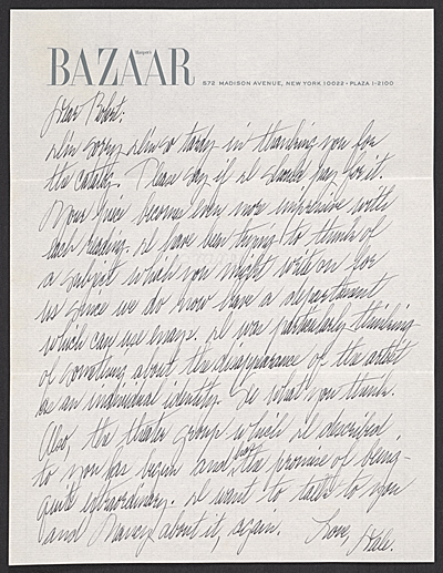 [Dale McConathy, New York, N.Y. letter to Robert Smithson, New York, N.Y.]
