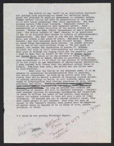 Robert Smithson essay on nature and art