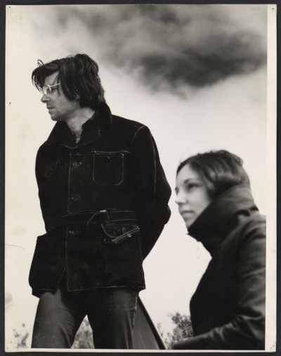 Robert Smithson and Nancy Holt at site project for Island of Broken Glass, Vancouver, Canada