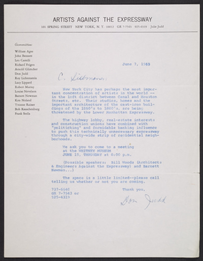 [Donald Judd on behalf of Artists Against the Expressway letter to Gerhardt Liebmann]