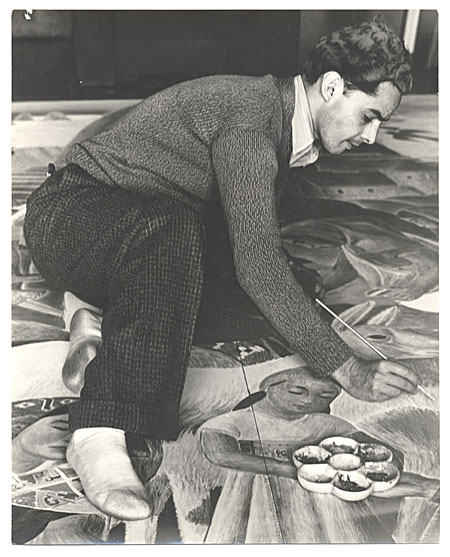 [Antonio Sotomayor at work on mural for Peruvian Pavilion, Treasure Island Exposition]