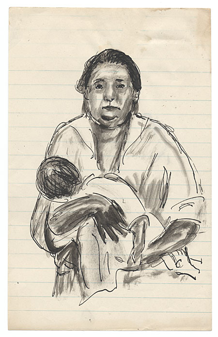 [Woman holding baby]