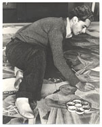 Antonio Sotomayor at work on mural for Peruvian Pavilion, Treasure Island Exposition