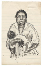 [Woman holding baby ]