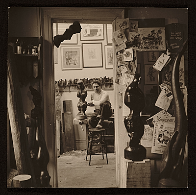 Chaim Gross in his studio