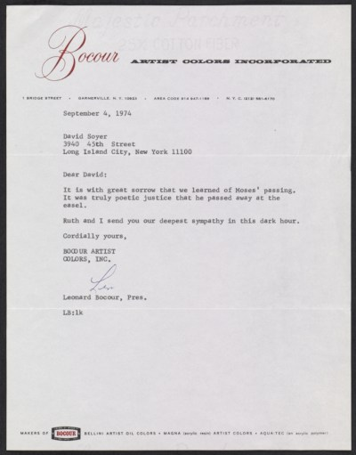 [Leonard Bocour letter to David Soyer]