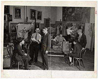 [Moses Soyer and others in his studio]