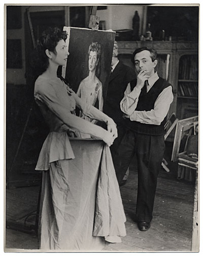 [Moses Soyer with model]