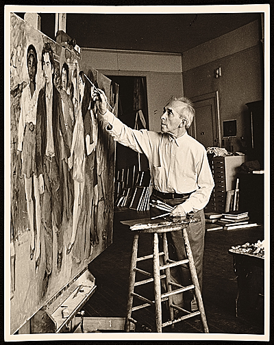 [Raphael Soyer at work in his studio]