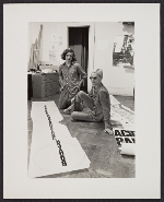 [Nancy Spero in her studio with her son, Paul Golub 1]