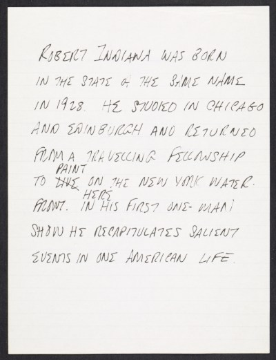 [Biographical notes on Robert Indiana]