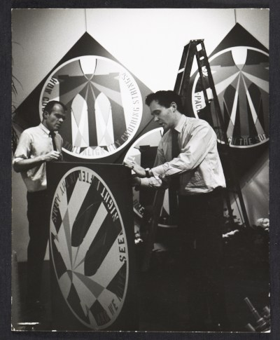 [Alan Groh and Robert Indiana installing a show at the Stable Gallery]