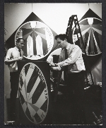 Alan Groh and Robert Indiana installing a show at the Stable Gallery