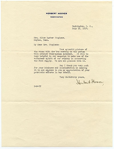[Herbert Hoover letter to Alice Barber Stephens]