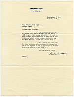 Herbert Hoover letter to Alice Barber Stephens