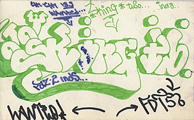 Graffiti sketch with hits by King 2, Chi Chi 133 and F.T.D. 158