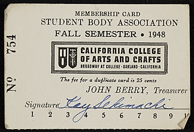 [Kay Sekimachi's California College of Arts and Crafts student body association membership card]