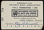Kay Sekimachis California College of Arts and Crafts student body association membership card