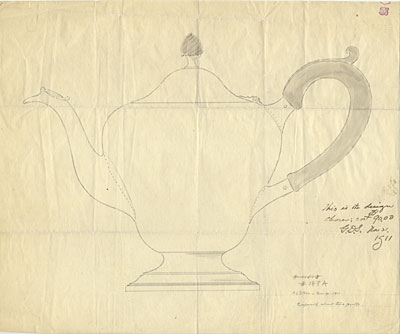Design for a silver teapot