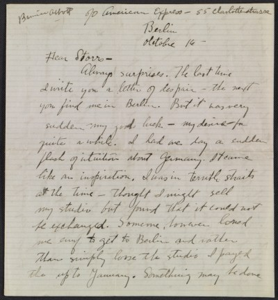 Berenice Abbott letter, Berlin, Germany, to John Henry Bradley Storrs, Paris, France