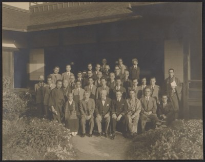[George Leslie Stout, Langdon Warner, and Japanese officials at Nishi Honganji temple in Kyoto, Japan]