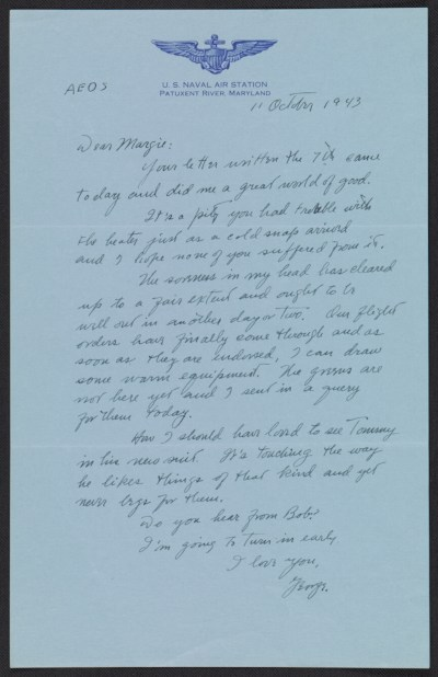 George Leslie Stout letter to Margaret Hayes Stout