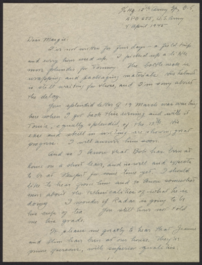 George Stout letter to his wife Margaret Stout