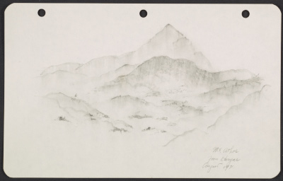 George Stout sketch of Mt. Athos from Karyas