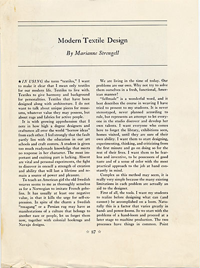 ['Modern Textile Design' by Marianne Strengell in Art Education Today]