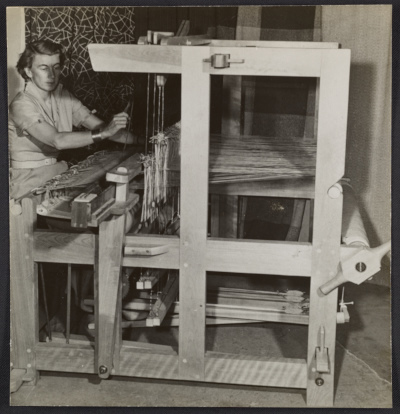 Marianne Strengell working at a loom