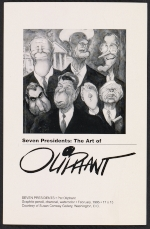 Exhibition announcement for Seven Presidents: the art of Oliphant