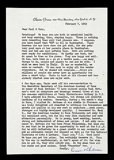 [Renee and Chaim Gross, New York, N.Y. letter to Paul and Gwin Suttman]