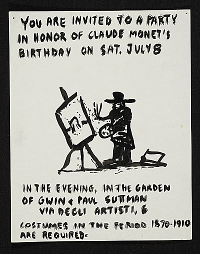 Invitation to a party in honor of Claude Monets birthday