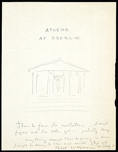 William Wegman letter to Athena Tacha