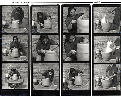 Toshiko Takaezu throwing a ceramic pot