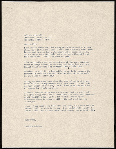 Toshiko Takaezu letter to Wallace (MacMahon) Mitchell, Bloomfield Hills, Mich.