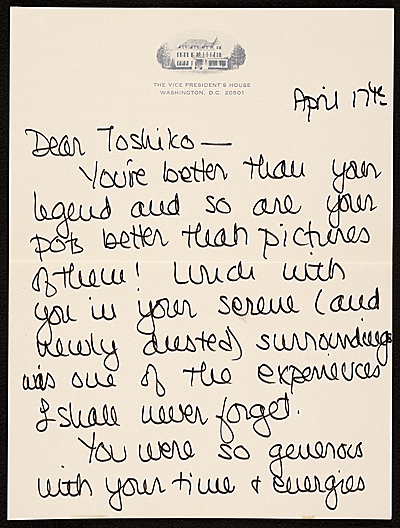 [Joan Mondale, Washington, D.C. letter to Toshiko Takaezu]