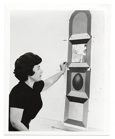 Miriam Schapiro with her lithograph The shrine