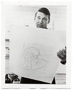 Richard Diebenkorn holding one of his lithographs