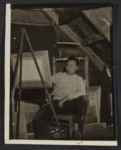 [Reuben Tam in his studio on Monhegan Island, Maine]